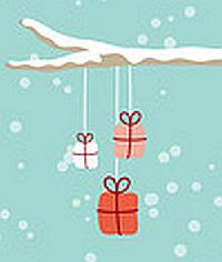 Elch mit Weihnachtsgeschenken