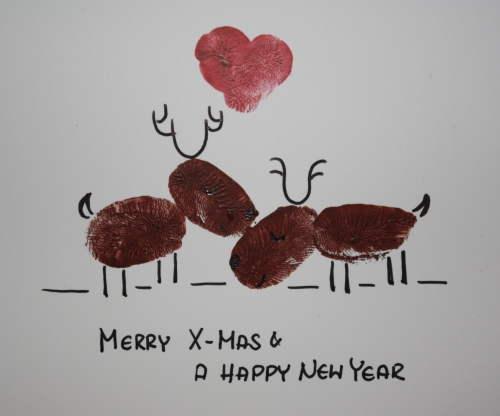 Zwei Elche auf Weihnachtskarte