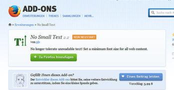 Firefox Addon: Die Schrift einer Website automatisch vergrößern