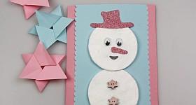 Weihnachtskarte mit Kindern basteln