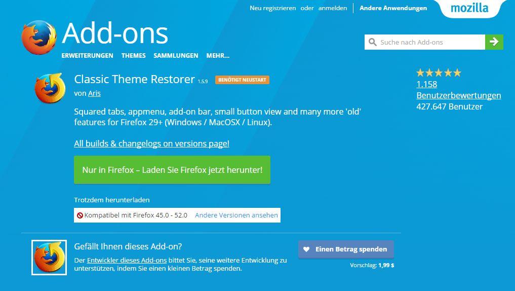 Bei Firefox das alte Design wiederherstellen