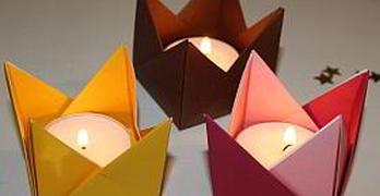 Anleitung für Origami Teelichthalter